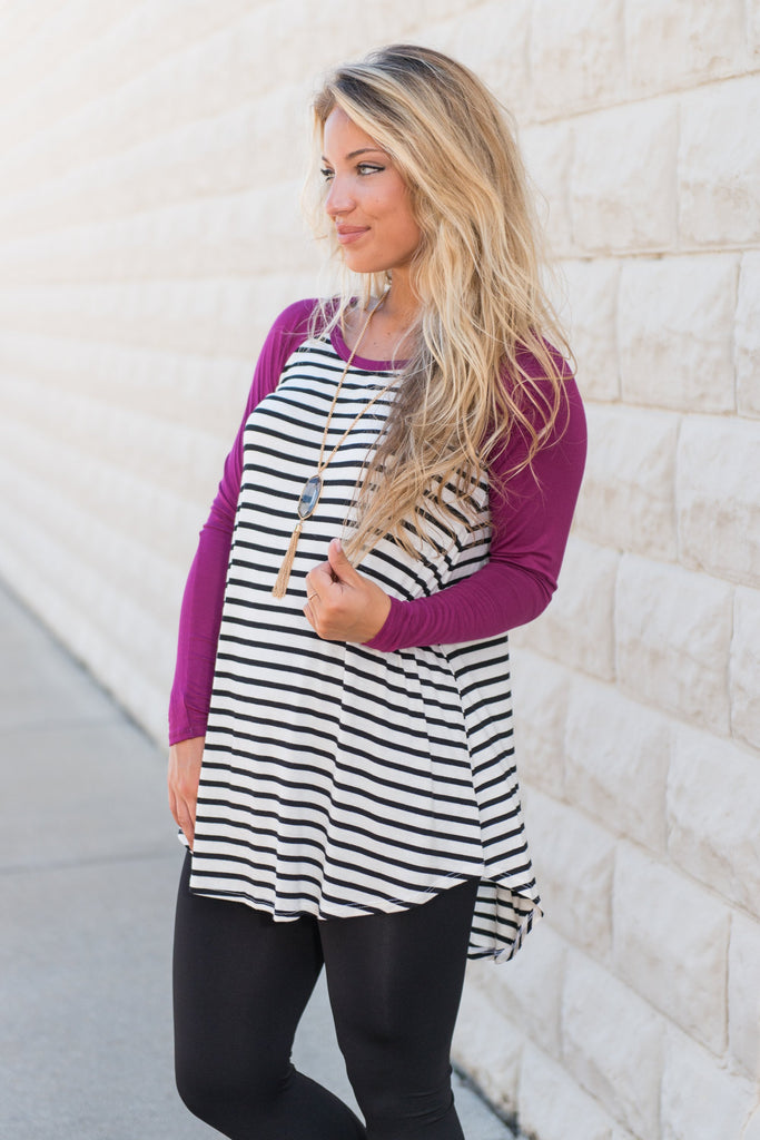 Fun For Sport Magenta Pink Striped Top