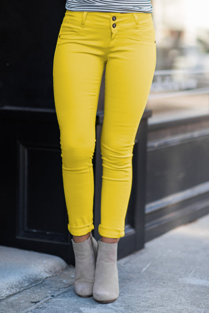 Smooth Sailing Skinny Jeans, Yellow