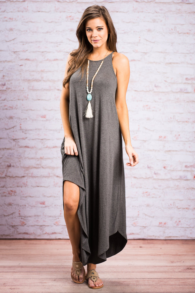 Boldly Go Maxi Dress, Charcoal