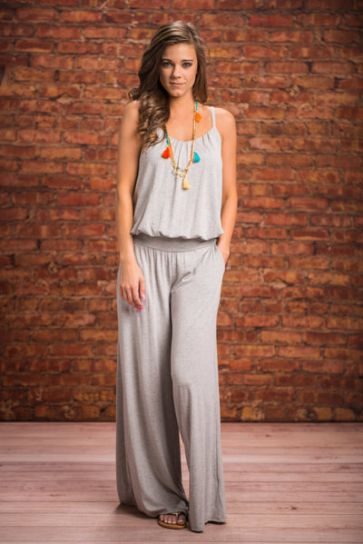 Jump Into Summer Jumpsuit, Heather Gray