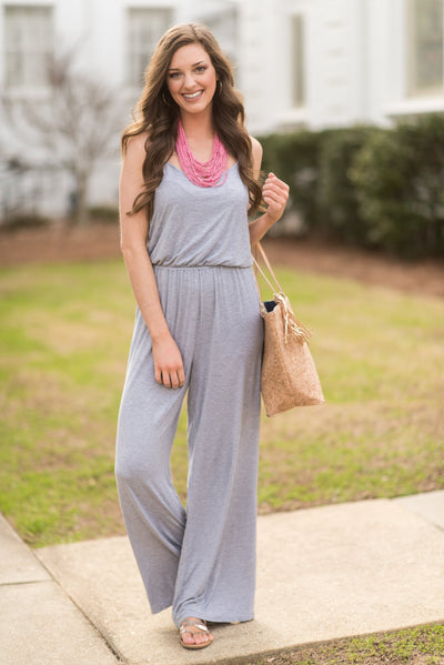 Remember Me Fondly Jumpsuit, Heather Gray