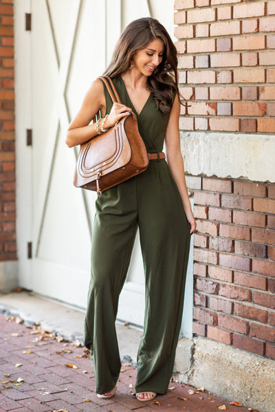 Never Riding Solo Jumpsuit, Olive