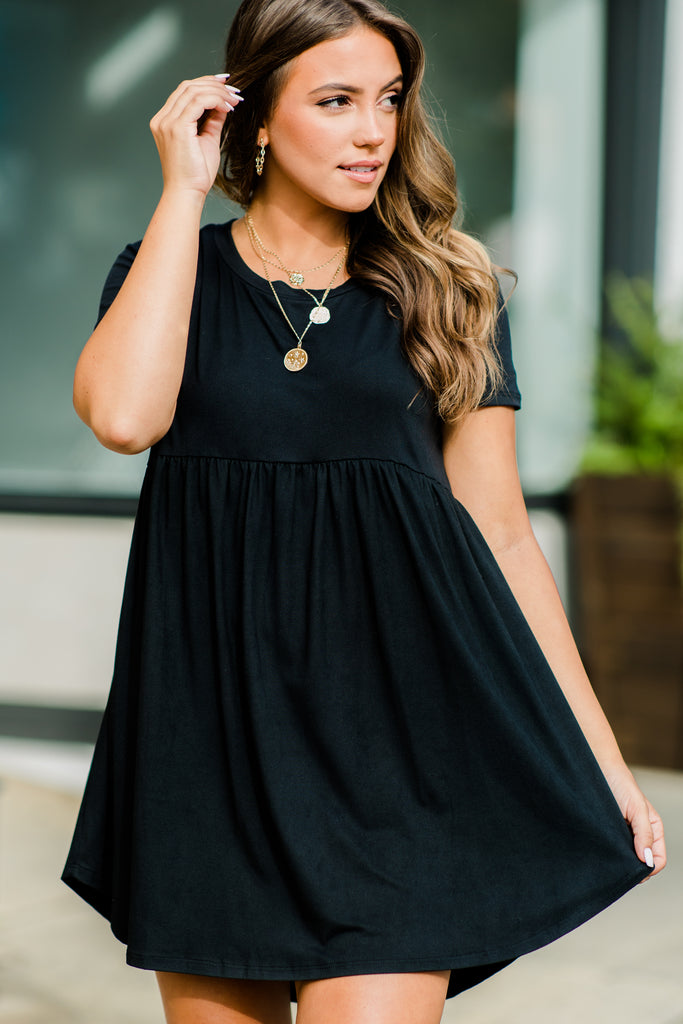 Playful Playlist Black Babydoll Dress