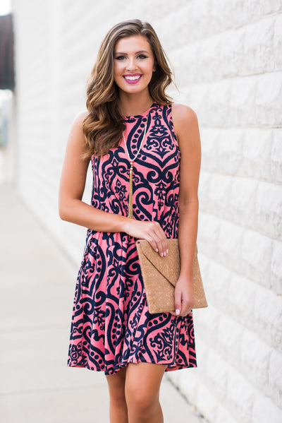 Never Too Busy Dress, Coral-Navy
