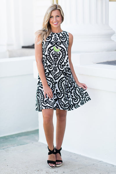 Never Too Busy Dress, Ivory-Black