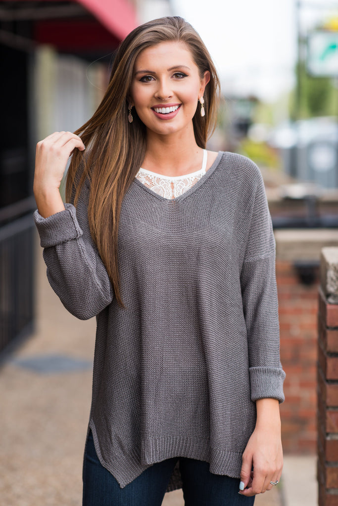 Impress Your Buttons Sweater, Gray