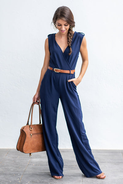 Never Riding Solo Jumpsuit, Navy
