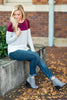 casual, stripes, colorblock, burgundy, white, long sleeve