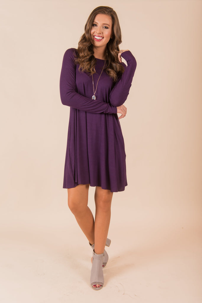 Wine And Dine Dress, Eggplant