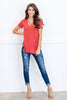 top, casual, tee, fall, winter, short sleeve, v neck, crisscross, orange, simple, solid