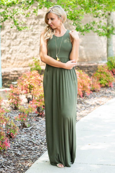 Play By The Rules Maxi Dress, Olive