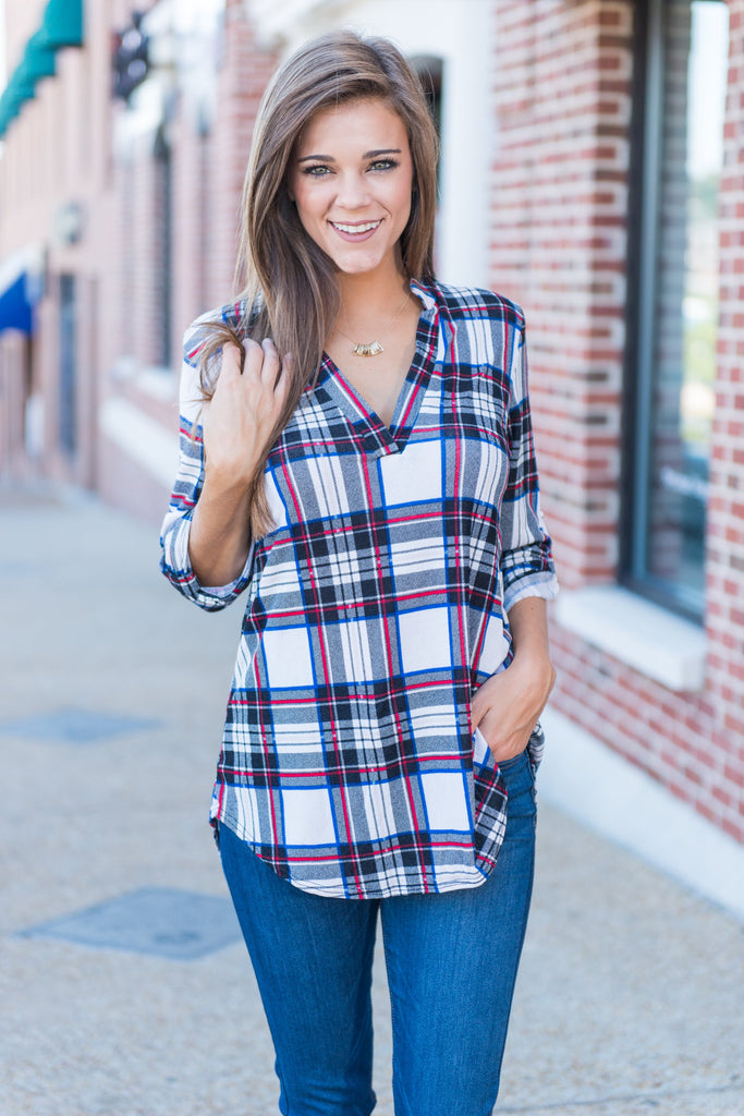 This Plaid Is Here To Stay Top, Black-Red