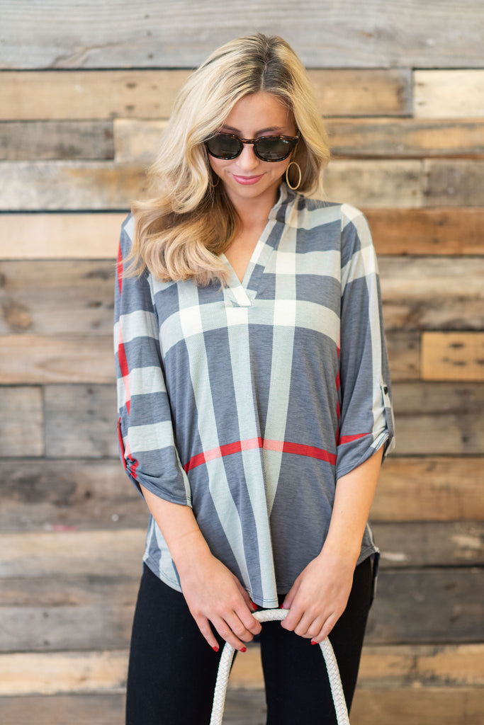 This Plaid Is Here To Stay Top, Gray-Ivory
