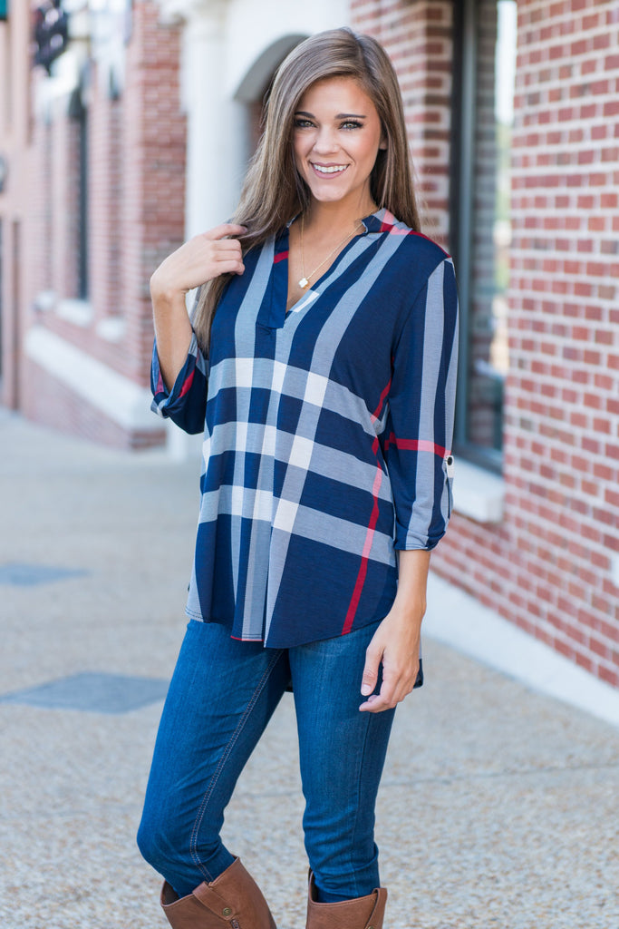 This Plaid Is Here To Stay Top, Navy