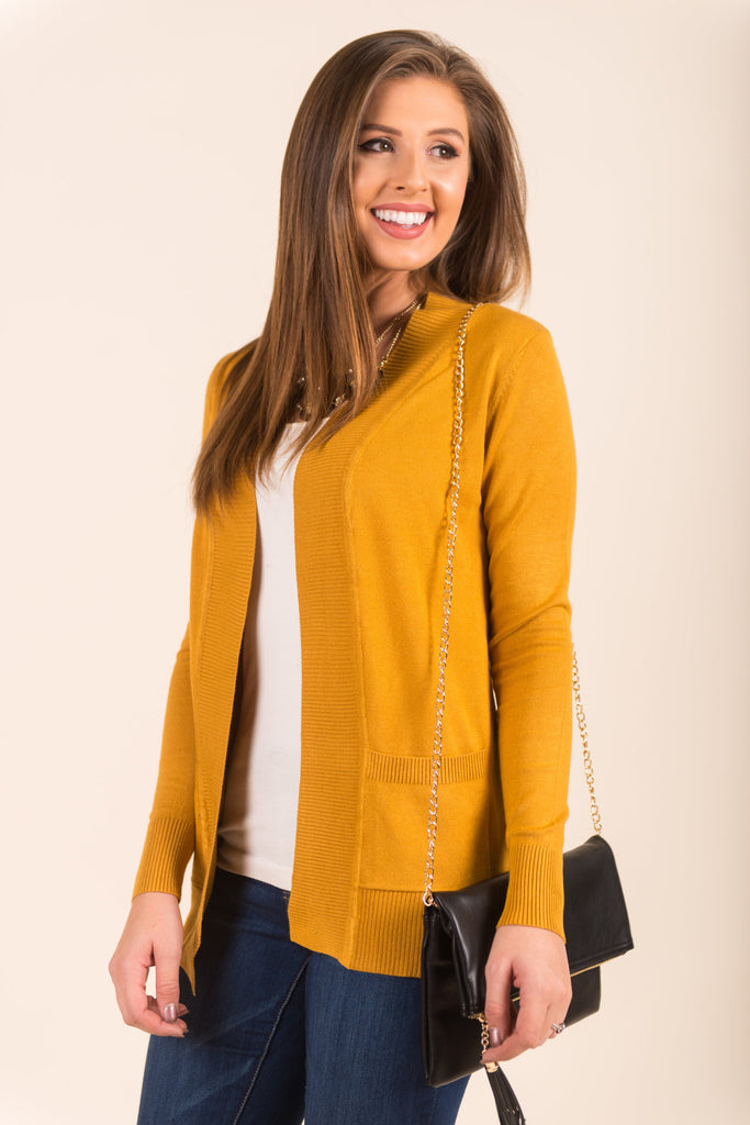 Every Other Day Cardigan, Mustard