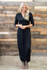 dress, maxi, solid, ankle length, 3/4 sleeve, long sleeve, v neck, fall, winter, trendy, conservative, flowy, black, wedding, everyday, spandex, rayon, no lining, neutral, floor length