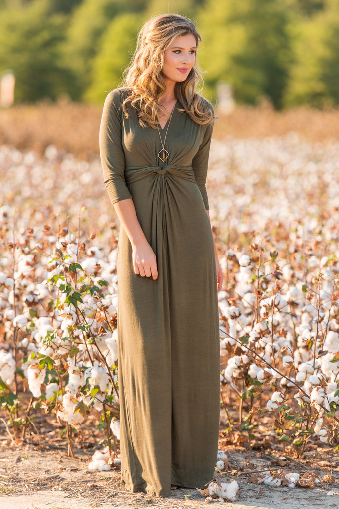 Twisted Fete Maxi Dress, Olive