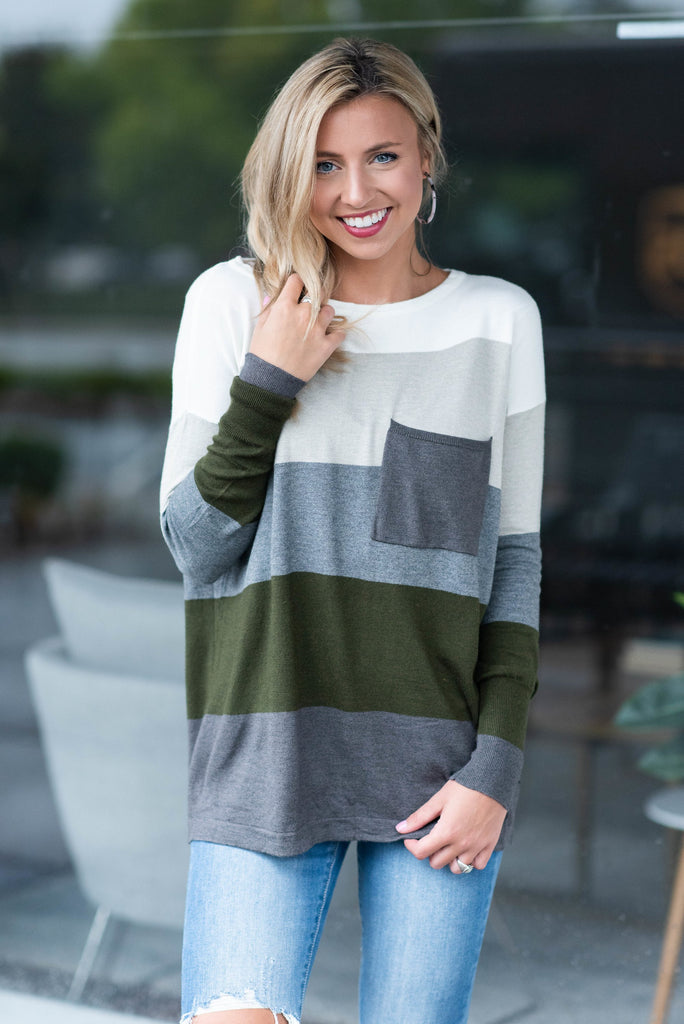 Color Block Pocket Sweater, Charcoal-Hunter Green