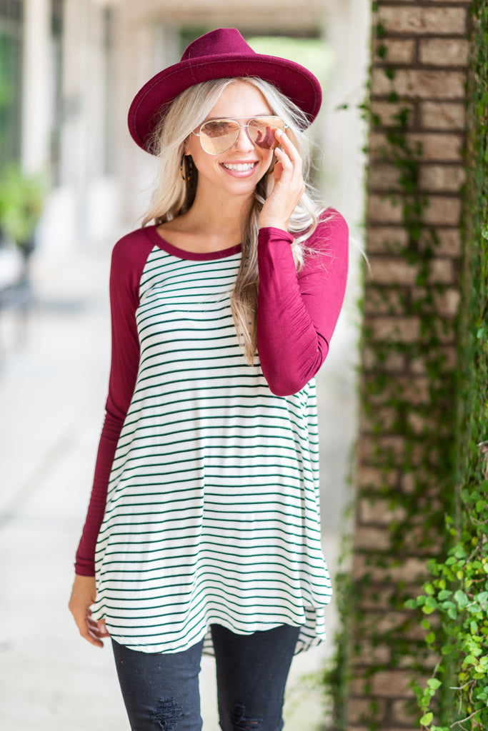 Fun For Sport Burgundy Red Striped Top
