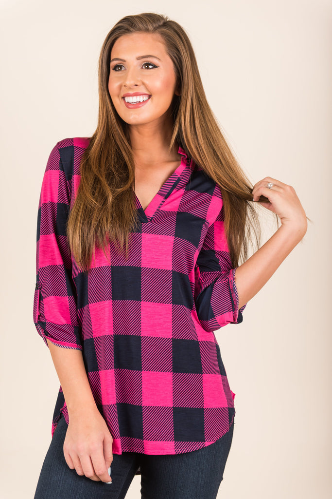 Rightly Rustic Tunic, Fuchsia-Navy