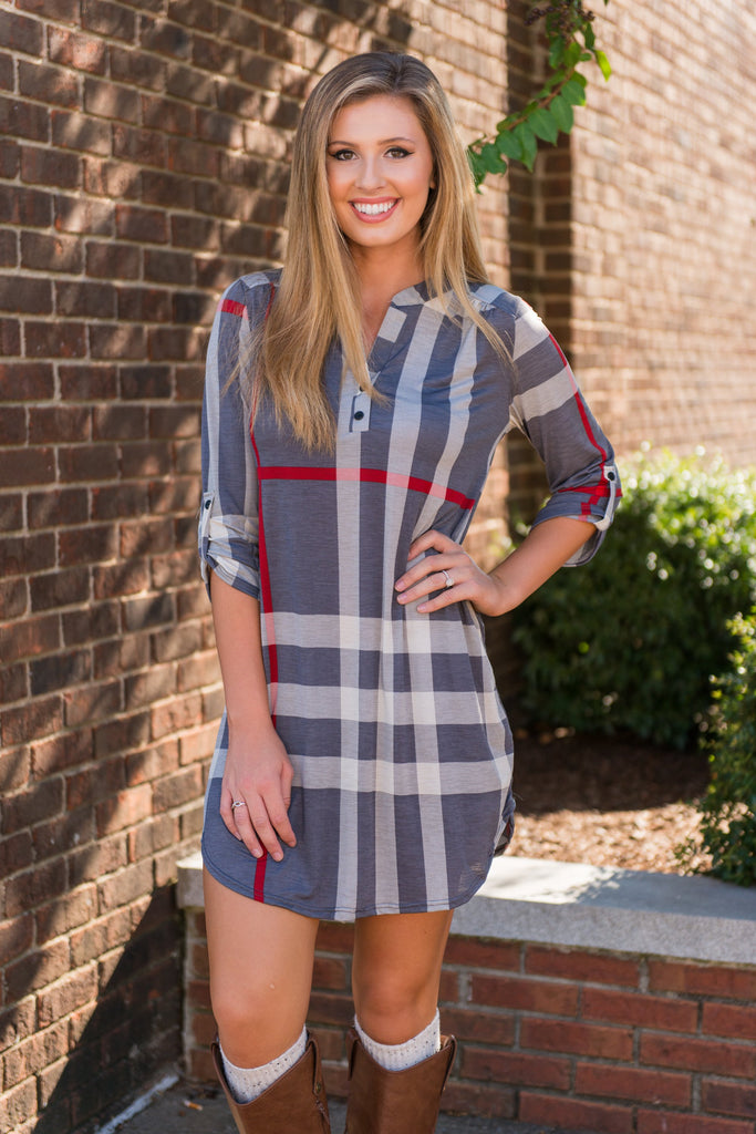 This Plaid Is Here To Stay Dress, Gray