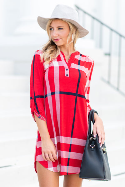 This Plaid Is Here To Stay Dress, Red