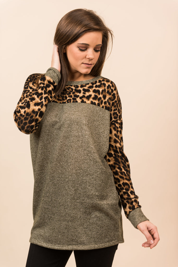 You Gotta Be Kitten Me Top, Olive