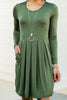 Tonight and Always Olive Green Babydoll Dress