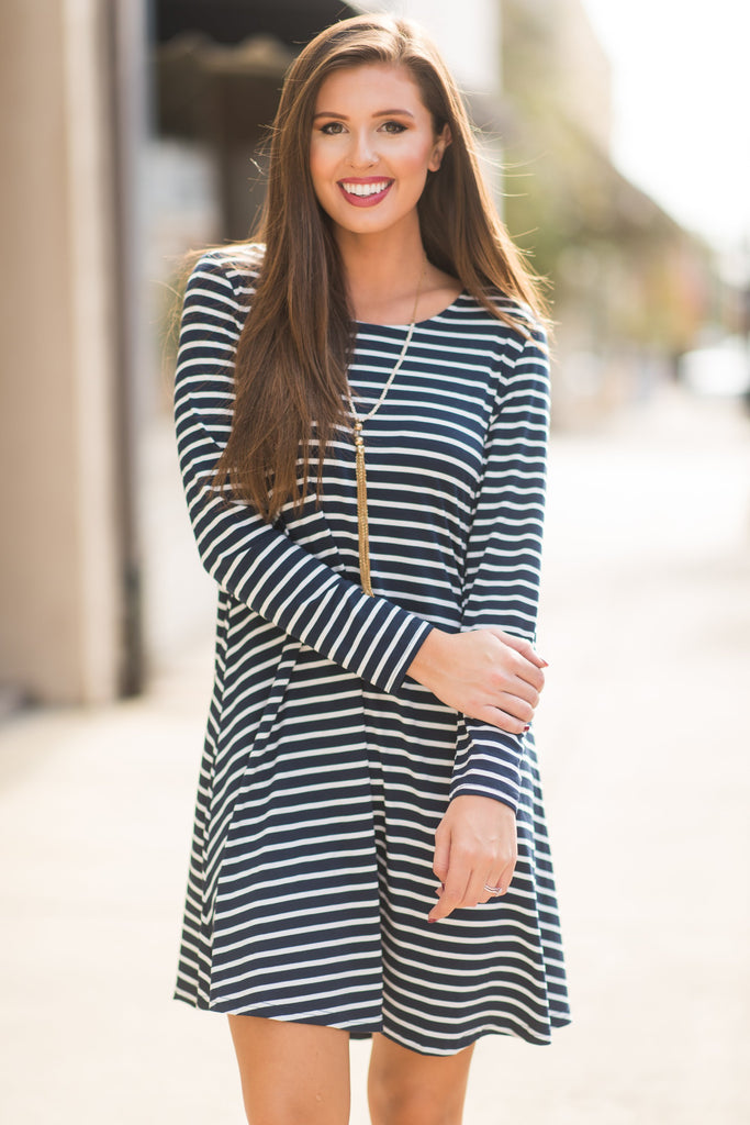 Searching for Love Dress, Navy-Ivory