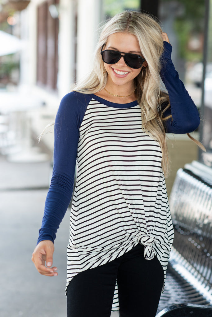 Fun For Sport Navy Blue Striped Top
