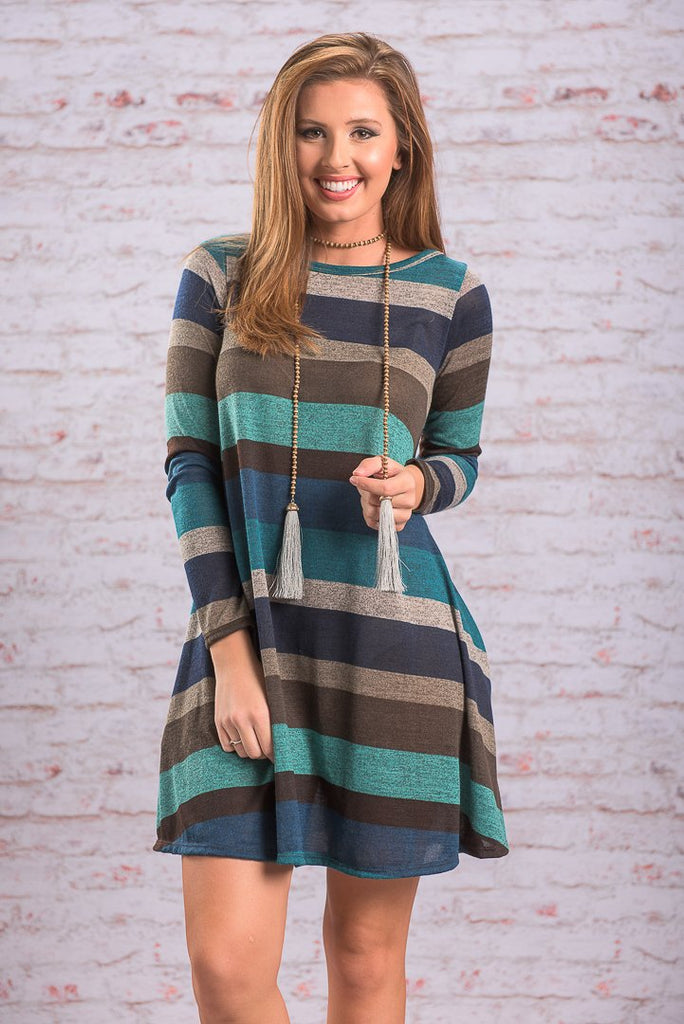 One Call Away Dress, Blue-Brown
