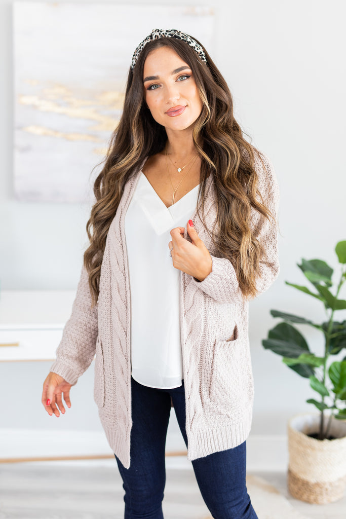 cardigan, sweater, blush, natural, knit, cozy, long sleeve, pocket, braided