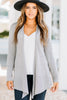 soft stretch fabric, long sleeves, cardigan, heather gray, heather gray cardigan