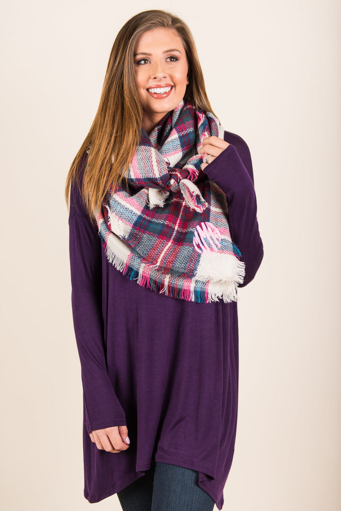 Soft Side Of Society Tunic, Eggplant