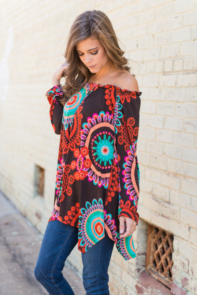 Forever Funky Off The Shoulder Top, Brown