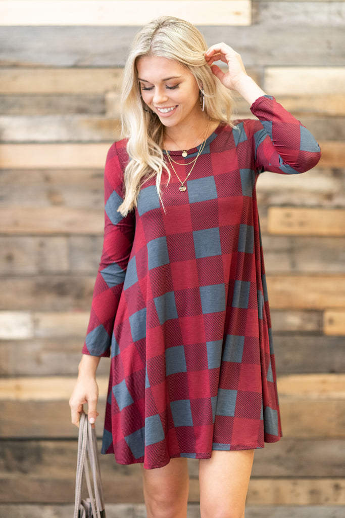 Party In Plaid Dress, Burgundy-Gray