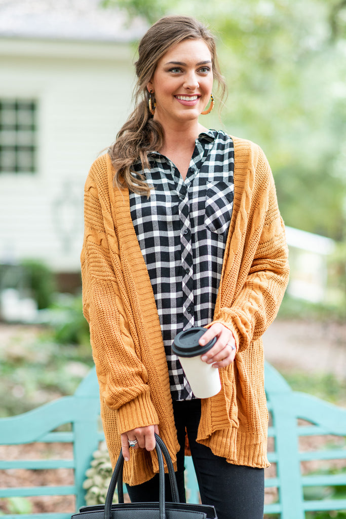 Make It All Better Camel Brown Cable Knit Cardigan