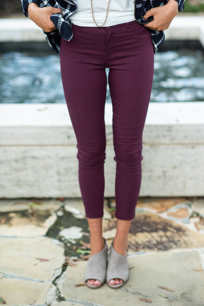Keep Walking Skinny Jeans, Burgundy