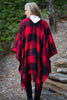 fall, cardigan, poncho, open front poncho, plaid, plaid poncho, trendy, fringe shawl, bold plaid print, fringe trimming, flowing fit, red shawl, red, red plaid
