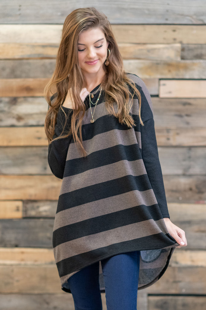 Featured Film Tunic, Mocha-Black