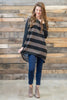 tunic, top, casual, fall, winter, flowy, long sleeve, stripes, striped, colorblock, warm, thick, thanksgiving, trendy, brown, black, mocha, spandex, polyester, neutral, holidays