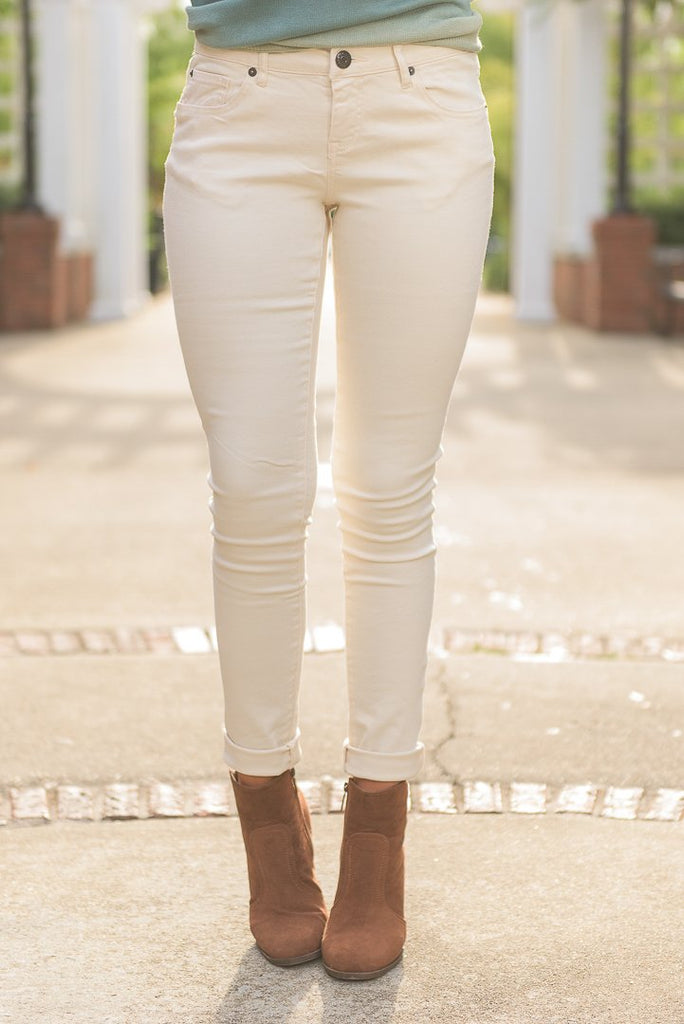What A Thrill Cream White Skinny Jeans