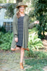 dress, casual, black, white, black and white stripes, fall, winter, long sleeve, short, above knee, front pocket