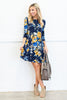 dress, casual, fall, winter, 3/4 sleeve, conservative, short, above knee, blue, floral, flowers, yellow, trendy, shopping, everyday, date night, scoop neck