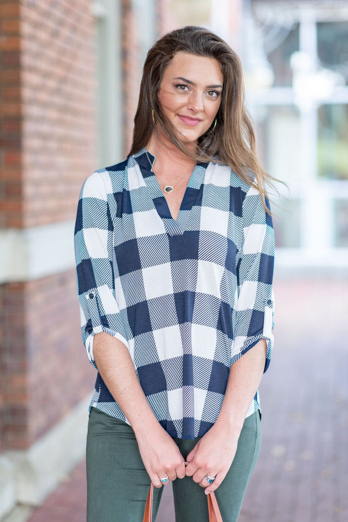 Party In Plaid Navy Blue Plaid Top