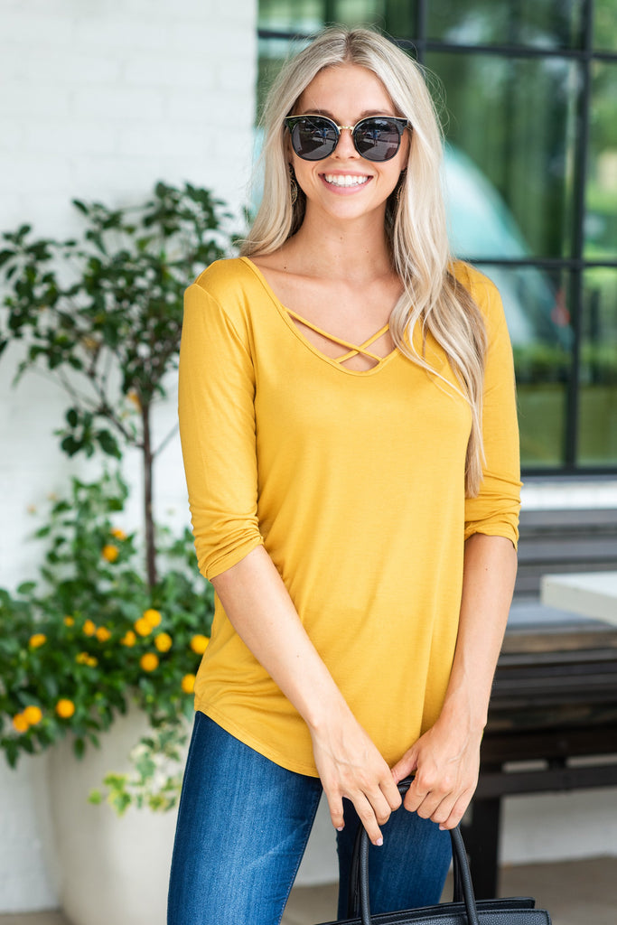 Need To Know Basis Top, Mustard