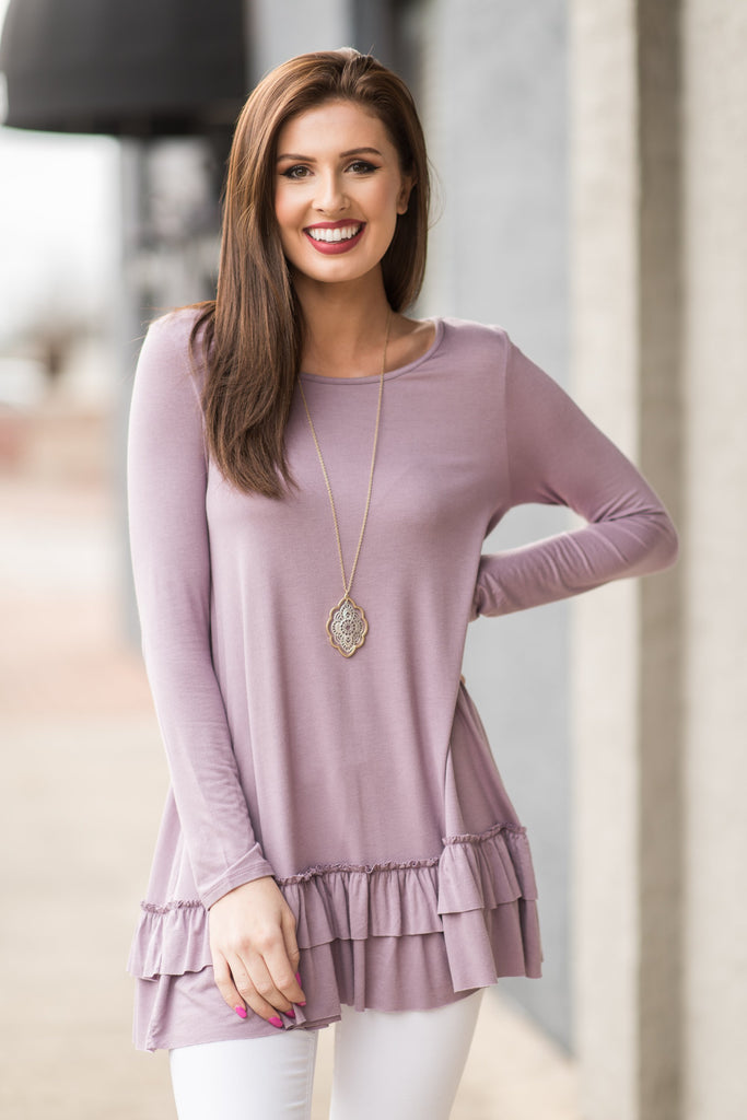 Care To Unwind Top, Lilac Gray