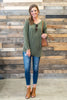 top, olive, green, fall, winter, long sleeve, casual, cute, everyday, solid, buttons