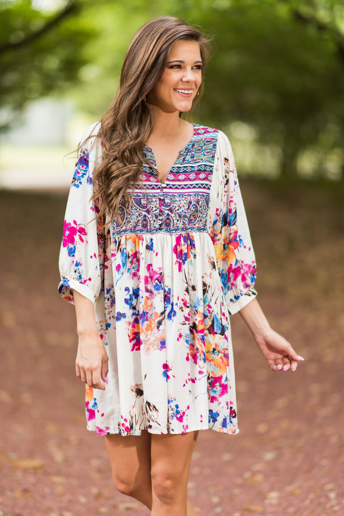 Influenced By Florals Ivory Boho Embroidered Dress