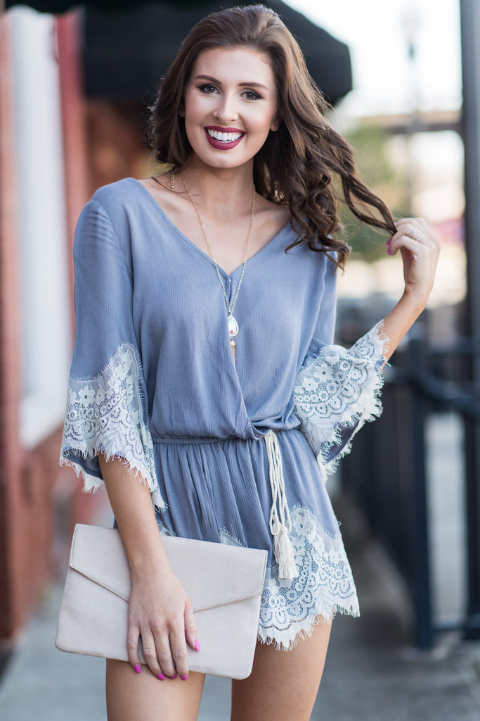 Waiting For You Romper, Slate Gray